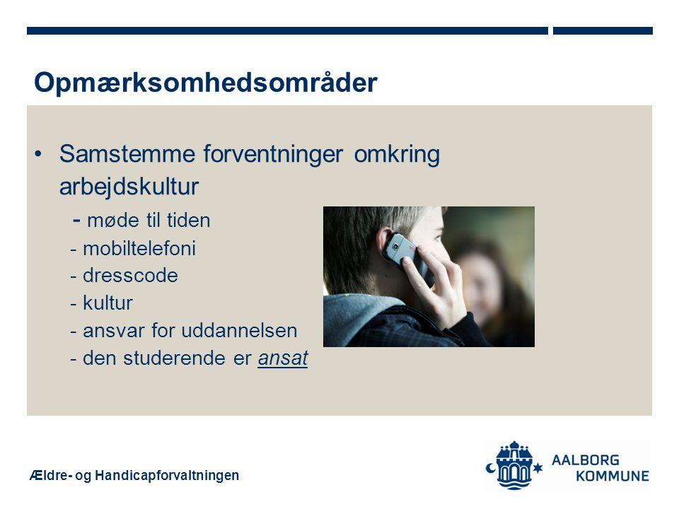 Ældre- og Handicapforvaltningen Samstemme forventninger omkring arbejdskultur - møde til tiden - mobiltelefoni - dresscode - kultur - ansvar for uddannelsen - den studerende er ansat Opmærksomhedsområder