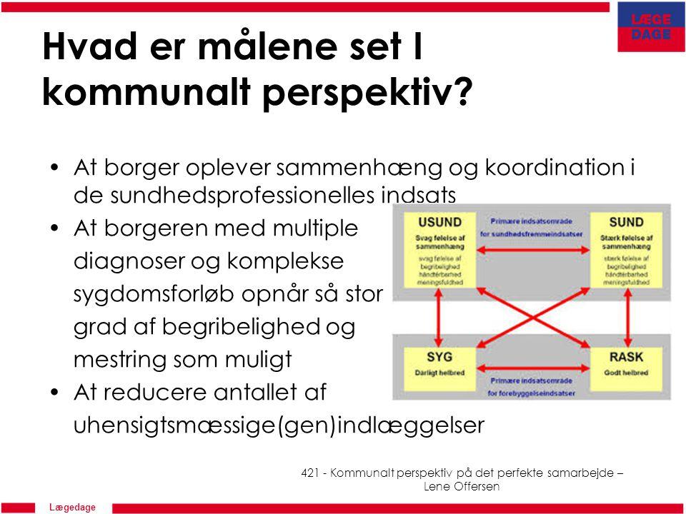 Lægedage Hvad er målene set I kommunalt perspektiv.