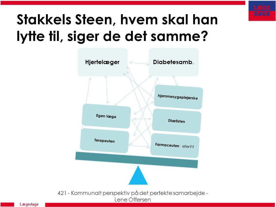 Lægedage Stakkels Steen, hvem skal han lytte til, siger de det samme.