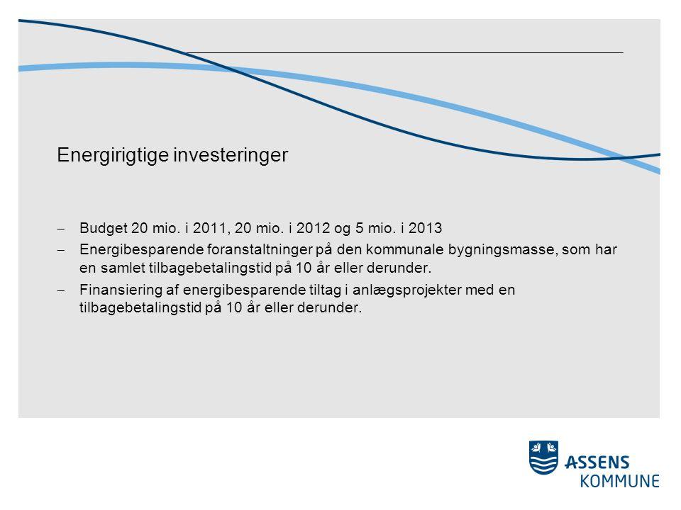 Energirigtige investeringer  Budget 20 mio. i 2011, 20 mio.