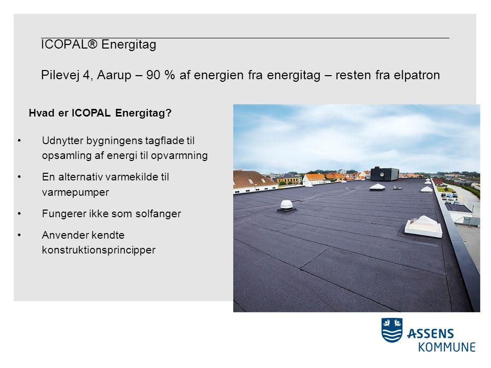 ICOPAL® Energitag Pilevej 4, Aarup – 90 % af energien fra energitag – resten fra elpatron Udnytter bygningens tagflade til opsamling af energi til opvarmning En alternativ varmekilde til varmepumper Fungerer ikke som solfanger Anvender kendte konstruktionsprincipper Hvad er ICOPAL Energitag