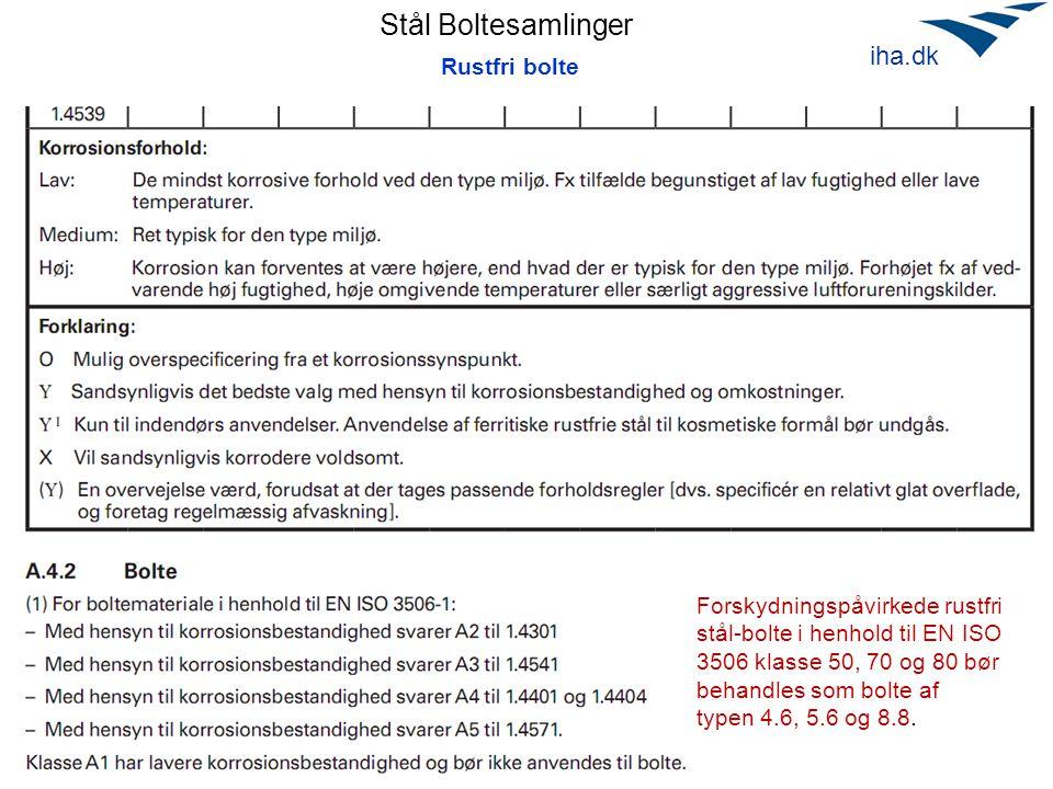 Stål Boltesamlinger April 2010 iha.dk Rustfri bolte Forskydningspåvirkede rustfri stål-bolte i henhold til EN ISO 3506 klasse 50, 70 og 80 bør behandles som bolte af typen 4.6, 5.6 og 8.8.