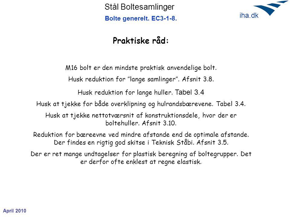 Stål Boltesamlinger April 2010 iha.dk Bolte generelt.