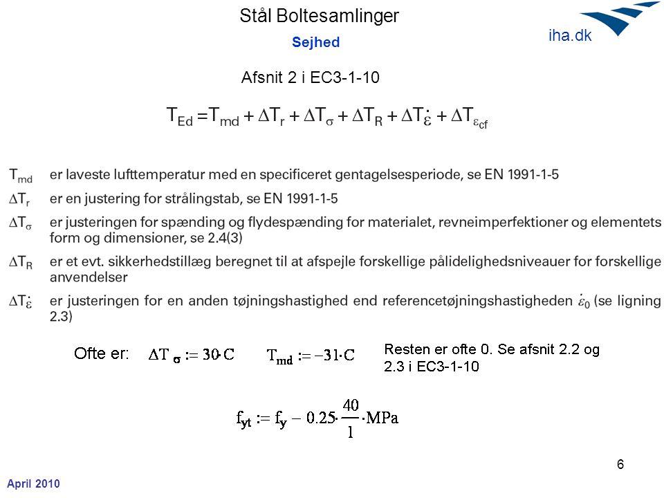 Stål Boltesamlinger April 2010 iha.dk 7 Sejhed