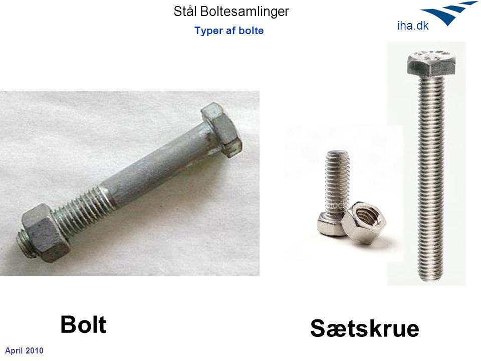 Stål Boltesamlinger April 2010 iha.dk Bolte trækbæreevne