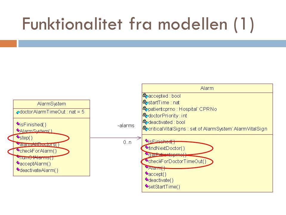 Funktionalitet fra modellen (1)