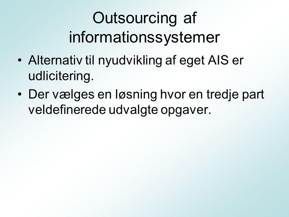 Outsourcing af informationssystemer Alternativ til nyudvikling af eget AIS er udlicitering.