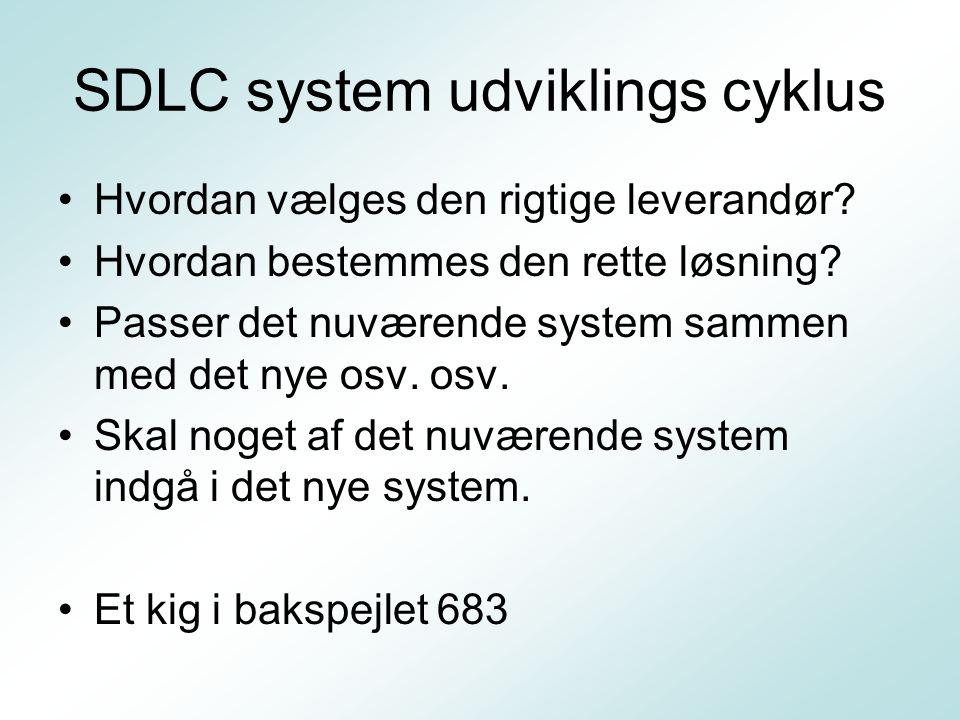 SDLC system udviklings cyklus Hvordan vælges den rigtige leverandør.