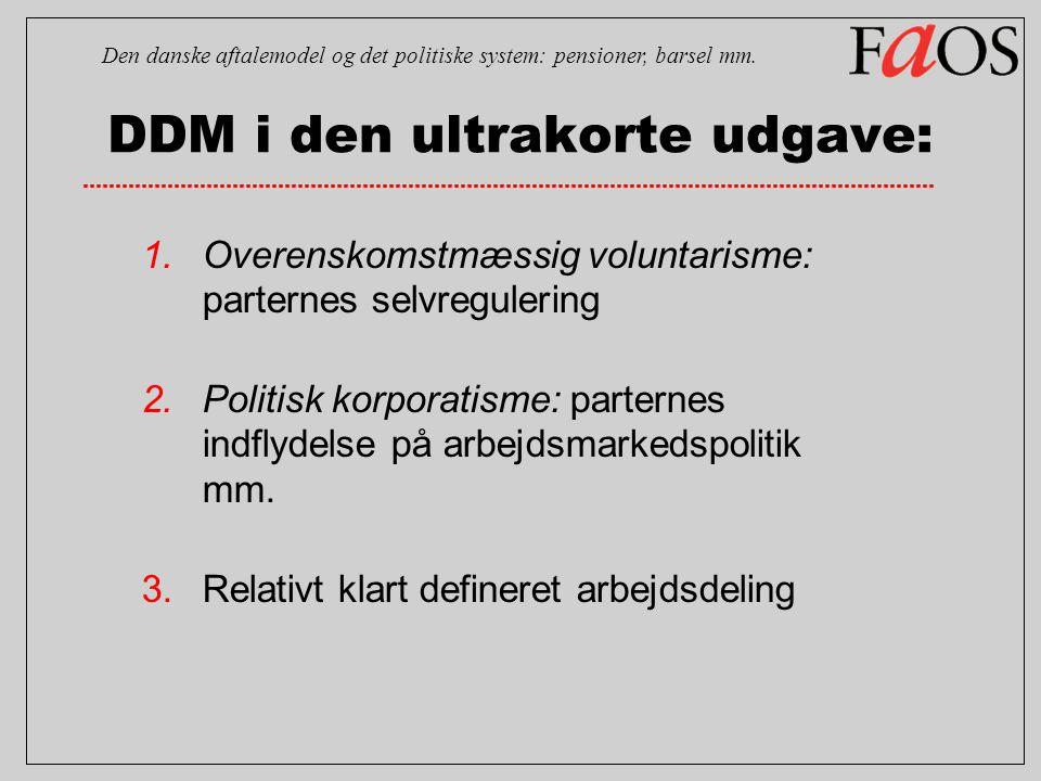 DDM i den ultrakorte udgave: 1.Overenskomstmæssig voluntarisme: parternes selvregulering 2.Politisk korporatisme: parternes indflydelse på arbejdsmarkedspolitik mm.