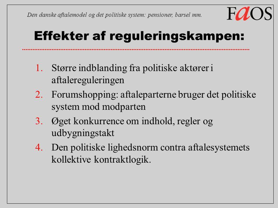 Effekter af reguleringskampen: Den danske aftalemodel og det politiske system: pensioner, barsel mm.