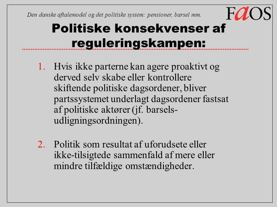 Politiske konsekvenser af reguleringskampen: 1.Hvis ikke parterne kan agere proaktivt og derved selv skabe eller kontrollere skiftende politiske dagsordener, bliver partssystemet underlagt dagsordener fastsat af politiske aktører (jf.