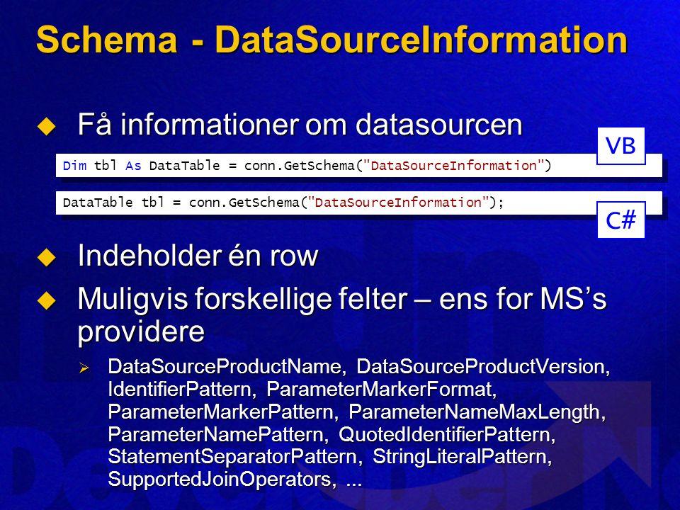 Schema - DataSourceInformation  Få informationer om datasourcen  Indeholder én row  Muligvis forskellige felter – ens for MS's providere  DataSourceProductName, DataSourceProductVersion, IdentifierPattern, ParameterMarkerFormat, ParameterMarkerPattern, ParameterNameMaxLength, ParameterNamePattern, QuotedIdentifierPattern, StatementSeparatorPattern, StringLiteralPattern, SupportedJoinOperators,...