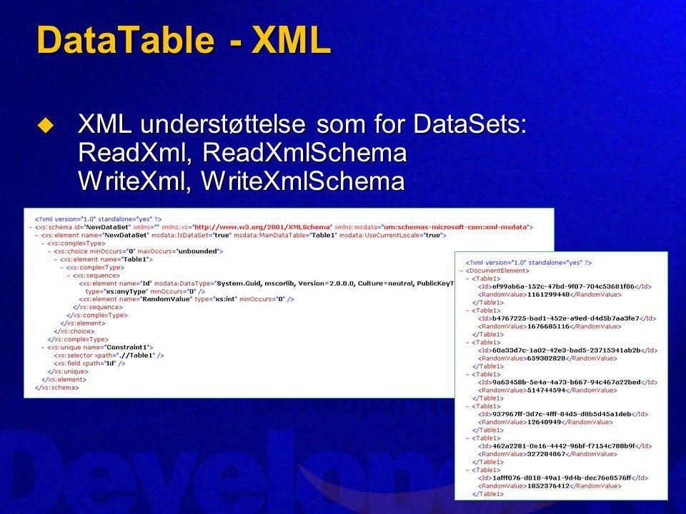 DataTable - XML  XML understøttelse som for DataSets: ReadXml, ReadXmlSchema WriteXml, WriteXmlSchema