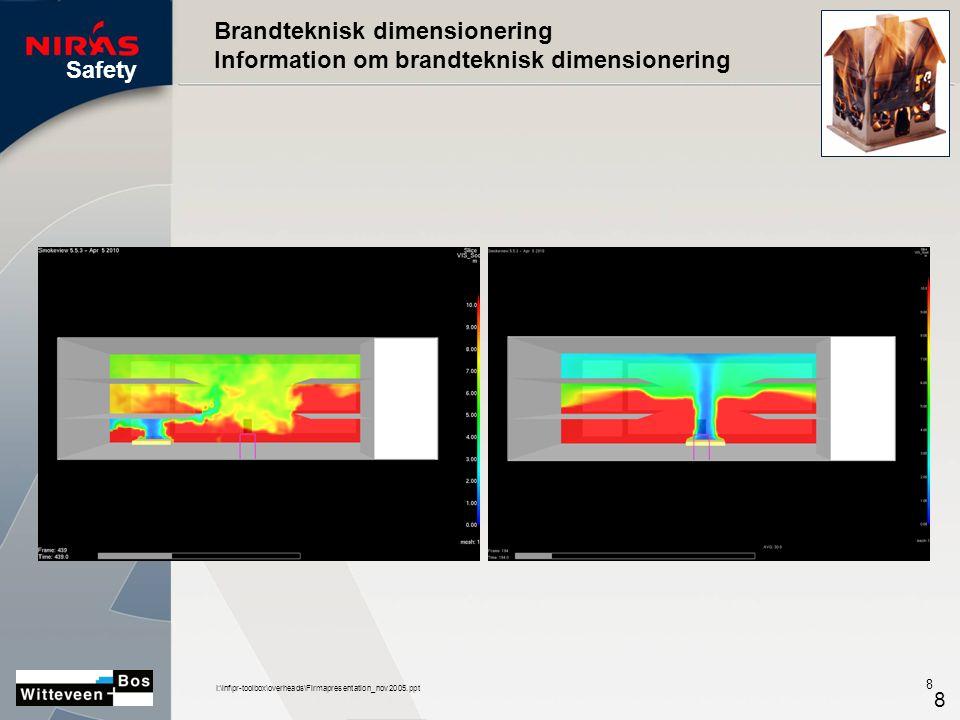 Safety I:\inf\pr-toolbox\overheads\Firmapresentation_nov2005.ppt 8 8 Brandteknisk dimensionering Information om brandteknisk dimensionering