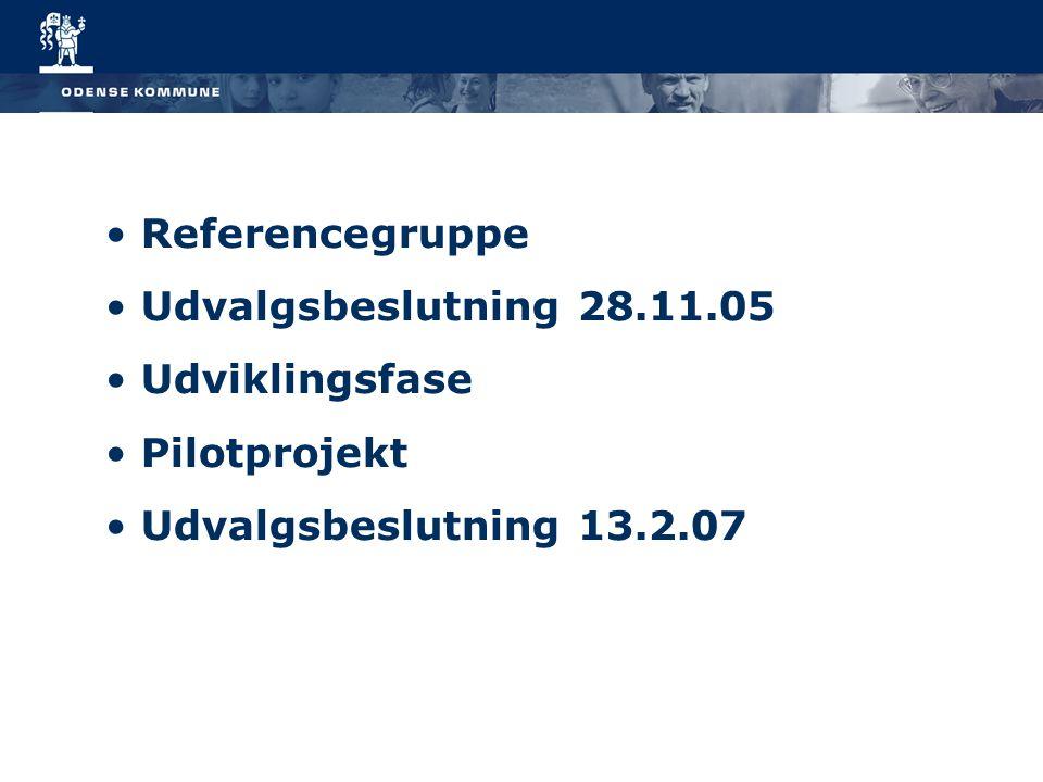 Referencegruppe Udvalgsbeslutning 28.11.05 Udviklingsfase Pilotprojekt Udvalgsbeslutning 13.2.07