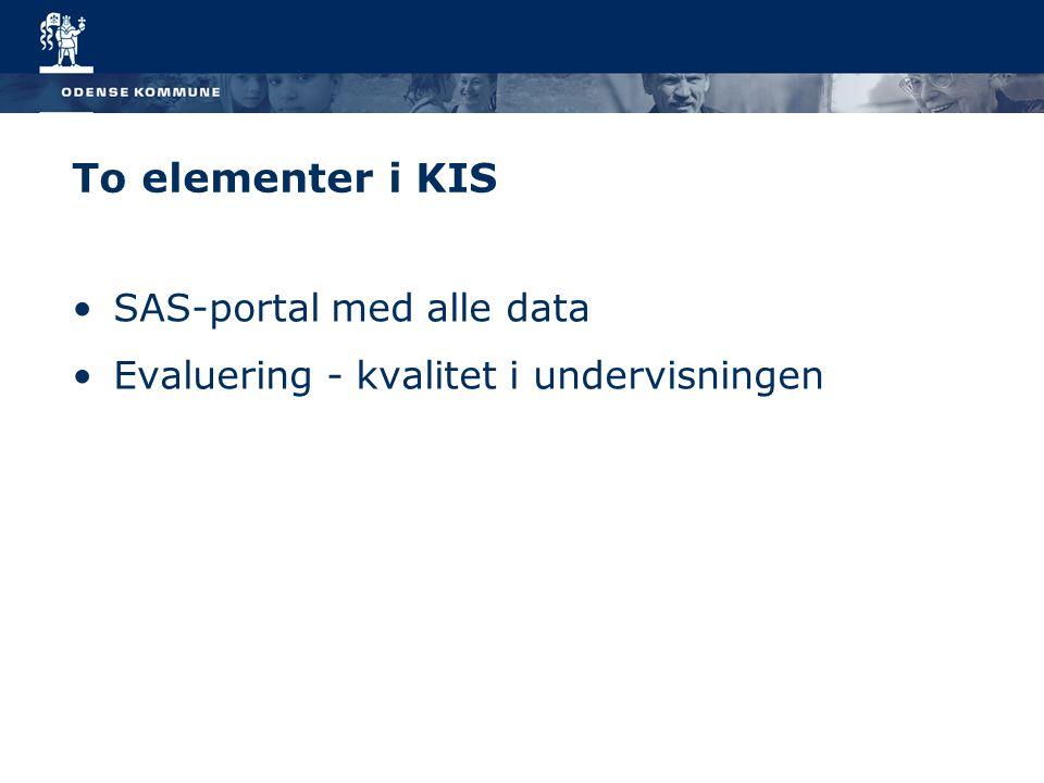 To elementer i KIS SAS-portal med alle data Evaluering - kvalitet i undervisningen