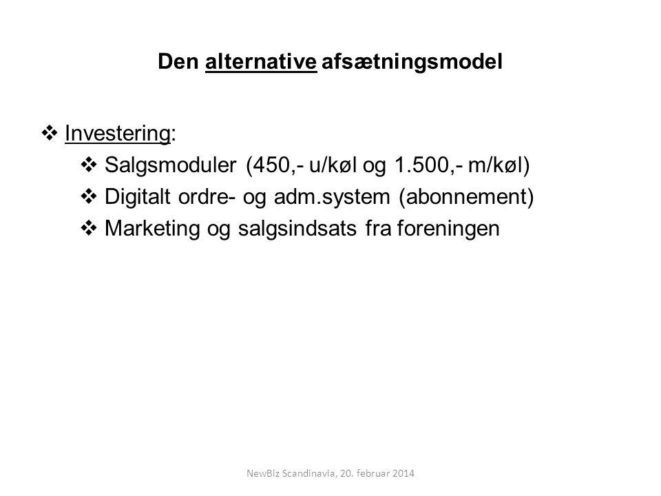 Den alternative afsætningsmodel  Investering:  Salgsmoduler (450,- u/køl og 1.500,- m/køl)  Digitalt ordre- og adm.system (abonnement)  Marketing og salgsindsats fra foreningen NewBiz Scandinavia, 20.
