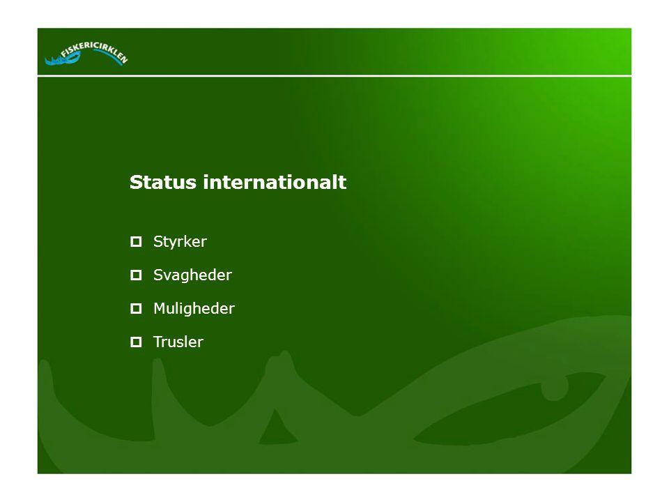 Status internationalt  Styrker  Svagheder  Muligheder  Trusler