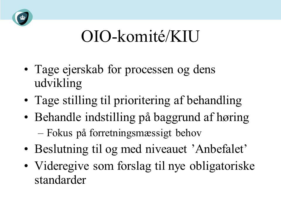 OIO-komité/KIU Tage ejerskab for processen og dens udvikling Tage stilling til prioritering af behandling Behandle indstilling på baggrund af høring –Fokus på forretningsmæssigt behov Beslutning til og med niveauet 'Anbefalet' Videregive som forslag til nye obligatoriske standarder