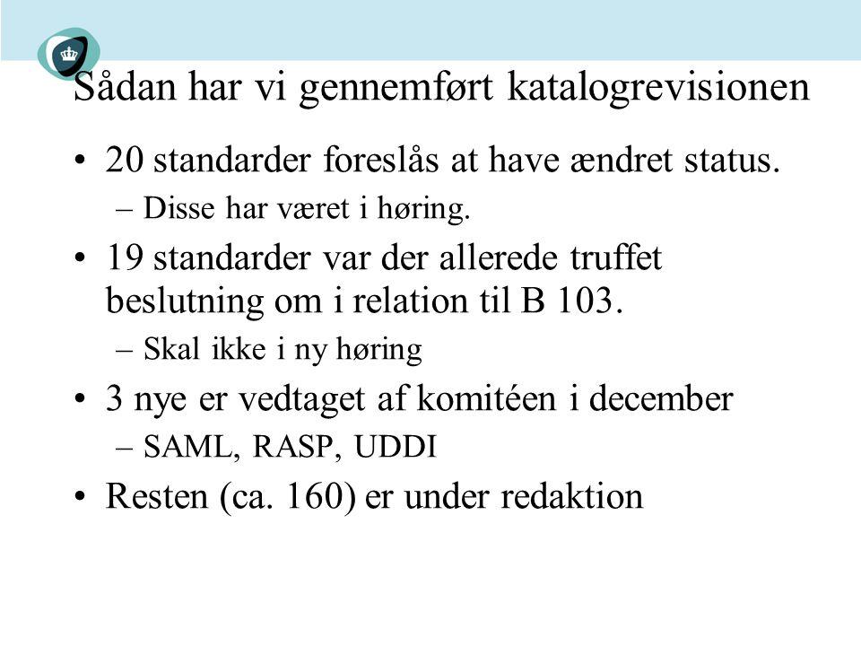 Sådan har vi gennemført katalogrevisionen 20 standarder foreslås at have ændret status.
