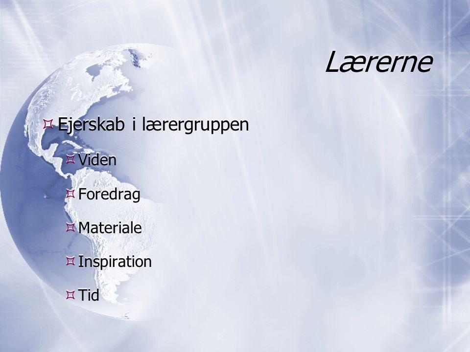 Lærerne  Ejerskab i lærergruppen  Viden  Foredrag  Materiale  Inspiration  Tid  Ejerskab i lærergruppen  Viden  Foredrag  Materiale  Inspiration  Tid
