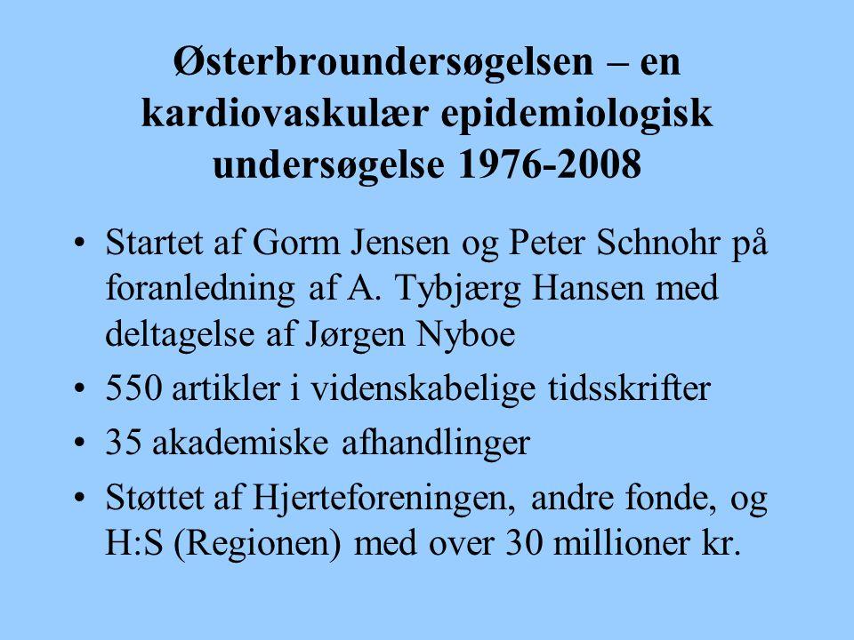 Østerbroundersøgelsen – en kardiovaskulær epidemiologisk undersøgelse 1976-2008 Startet af Gorm Jensen og Peter Schnohr på foranledning af A.