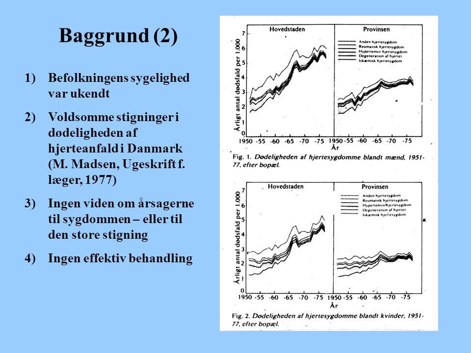 Baggrund (2) 1)Befolkningens sygelighed var ukendt 2)Voldsomme stigninger i dødeligheden af hjerteanfald i Danmark (M.