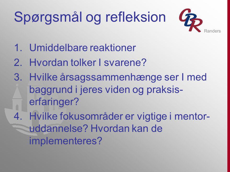 Spørgsmål og refleksion 1.Umiddelbare reaktioner 2.Hvordan tolker I svarene.