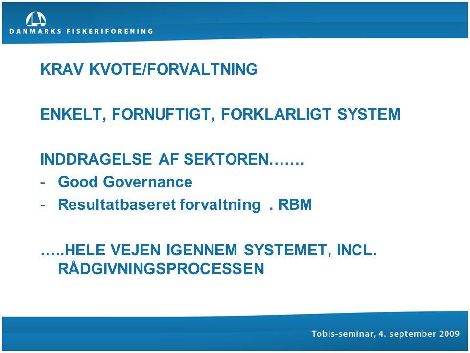KRAV KVOTE/FORVALTNING ENKELT, FORNUFTIGT, FORKLARLIGT SYSTEM INDDRAGELSE AF SEKTOREN…….