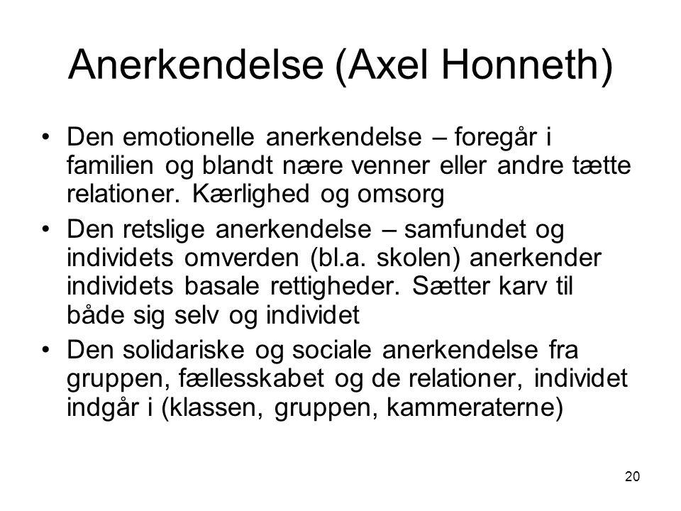 20 Anerkendelse (Axel Honneth) Den emotionelle anerkendelse – foregår i familien og blandt nære venner eller andre tætte relationer.