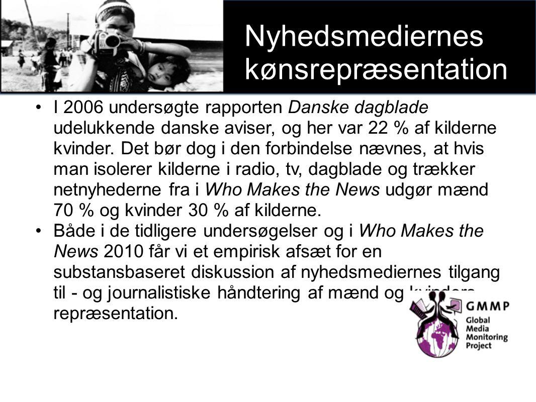 I 2006 undersøgte rapporten Danske dagblade udelukkende danske aviser, og her var 22 % af kilderne kvinder.