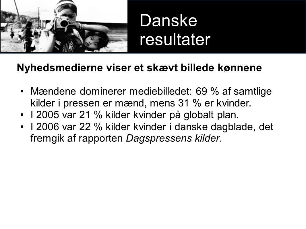 xxxx Danske resultater Nyhedsmedierne viser et skævt billede kønnene Mændene dominerer mediebilledet: 69 % af samtlige kilder i pressen er mænd, mens 31 % er kvinder.