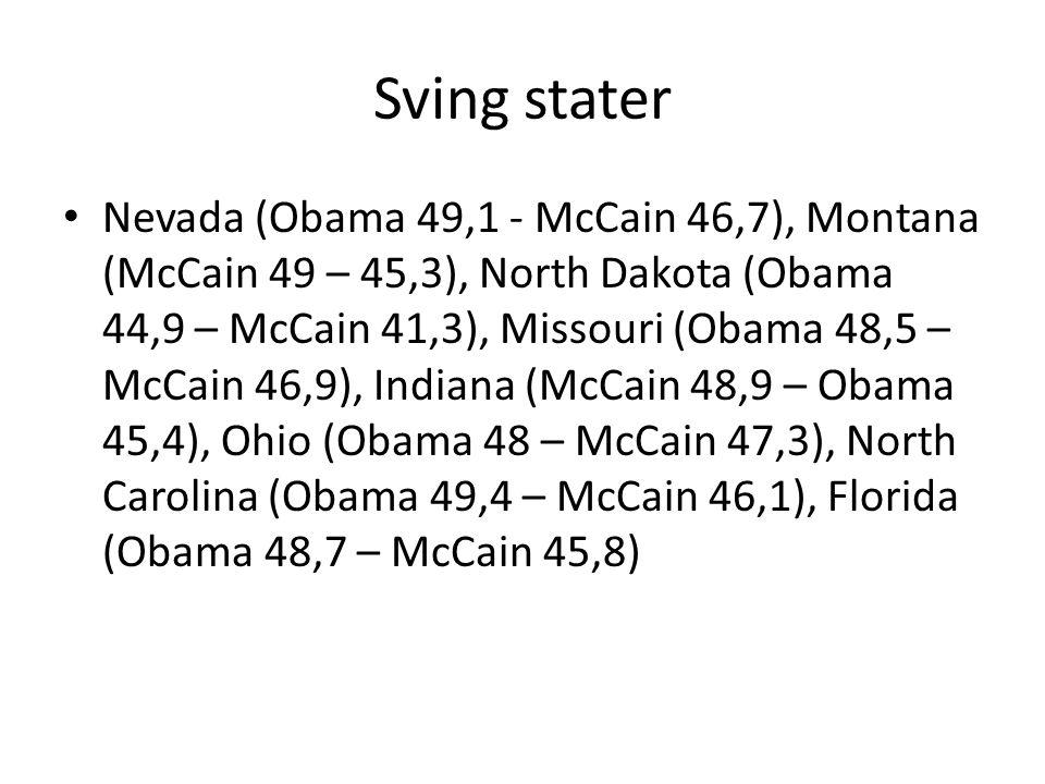 Sving stater Nevada (Obama 49,1 - McCain 46,7), Montana (McCain 49 – 45,3), North Dakota (Obama 44,9 – McCain 41,3), Missouri (Obama 48,5 – McCain 46,9), Indiana (McCain 48,9 – Obama 45,4), Ohio (Obama 48 – McCain 47,3), North Carolina (Obama 49,4 – McCain 46,1), Florida (Obama 48,7 – McCain 45,8)