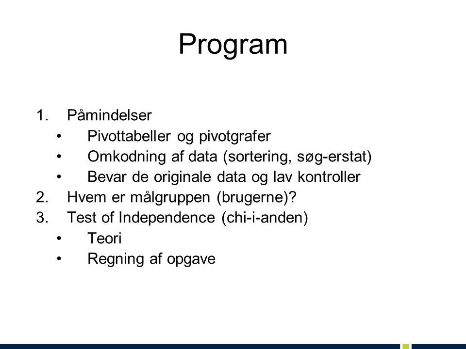 Program 1.Påmindelser Pivottabeller og pivotgrafer Omkodning af data (sortering, søg-erstat) Bevar de originale data og lav kontroller 2.Hvem er målgruppen (brugerne).
