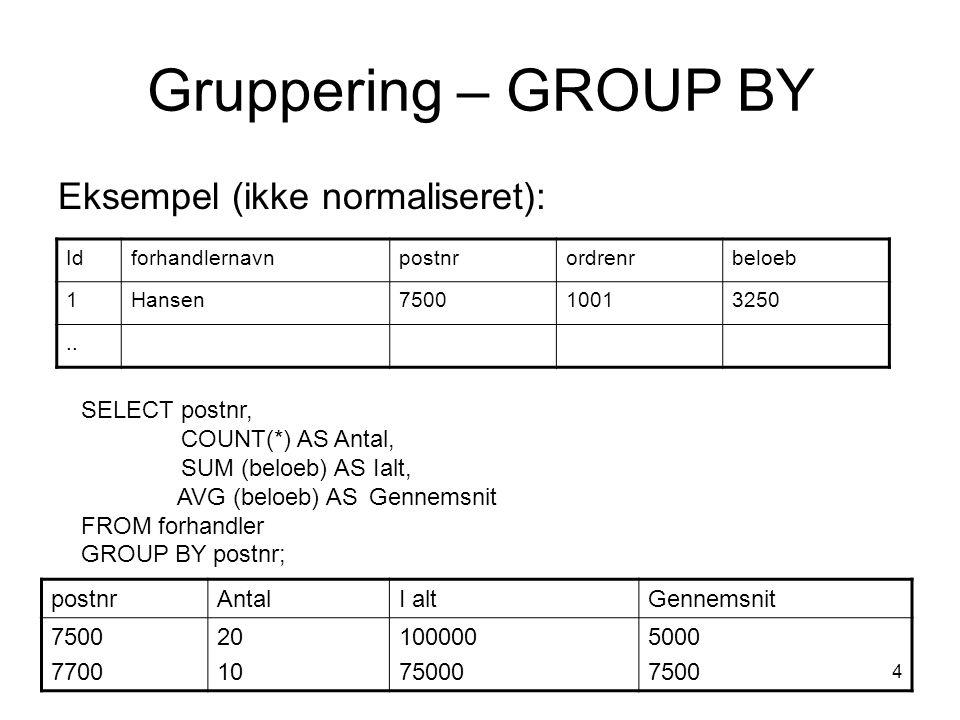 4 Gruppering – GROUP BY Eksempel (ikke normaliseret): Idforhandlernavnpostnrordrenrbeloeb 1Hansen750010013250..