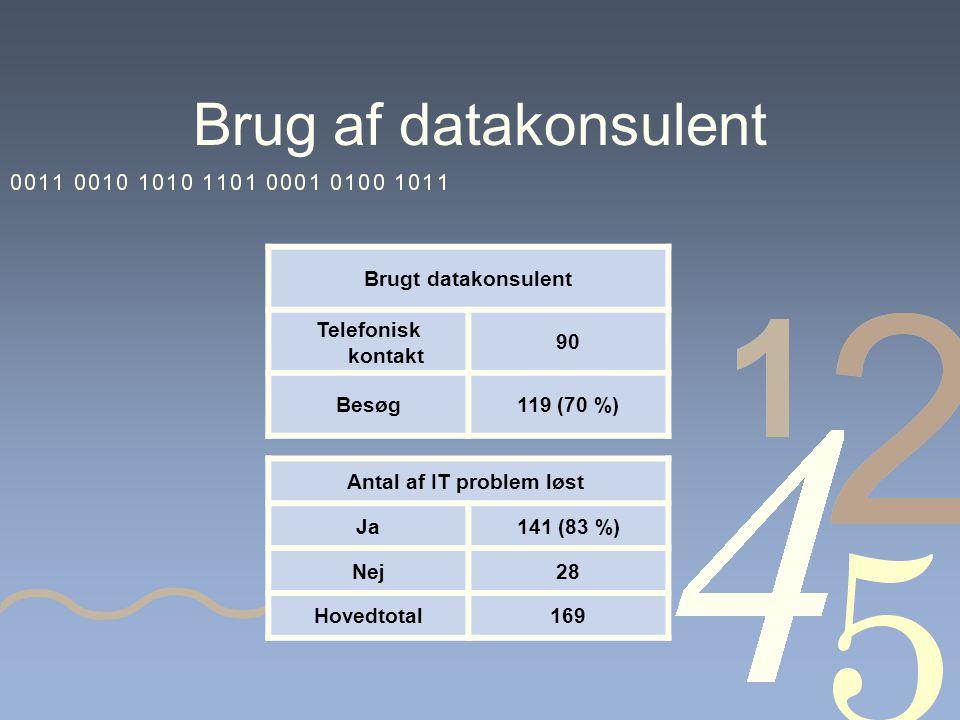 Brug af datakonsulent Brugt datakonsulent Telefonisk kontakt 90 Besøg119 (70 %) Antal af IT problem løst Ja141 (83 %) Nej28 Hovedtotal169