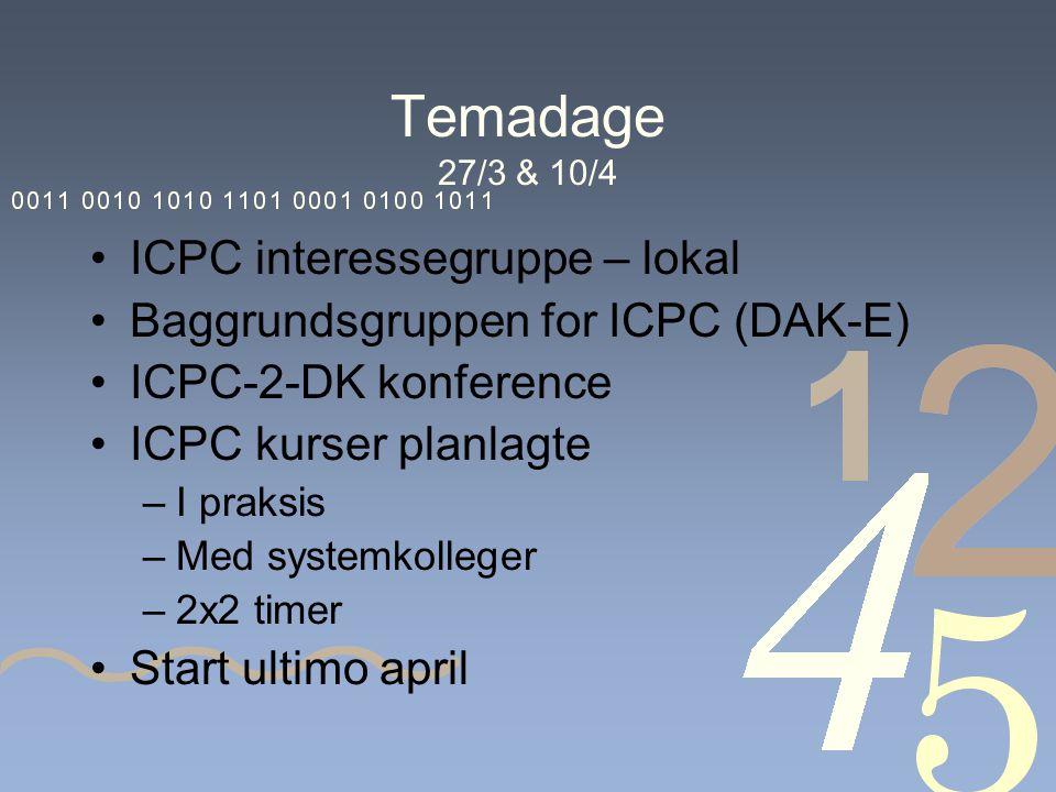 Temadage 27/3 & 10/4 ICPC interessegruppe – lokal Baggrundsgruppen for ICPC (DAK-E) ICPC-2-DK konference ICPC kurser planlagte –I praksis –Med systemkolleger –2x2 timer Start ultimo april