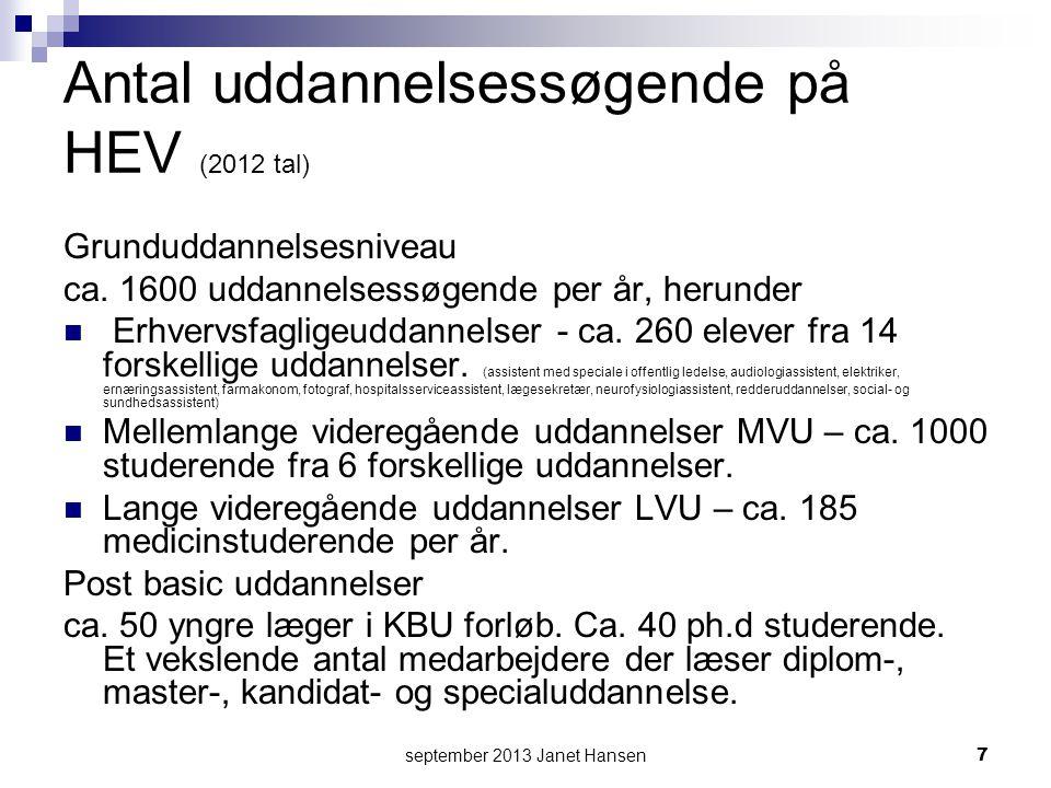 september 2013 Janet Hansen7 Antal uddannelsessøgende på HEV (2012 tal) Grunduddannelsesniveau ca.