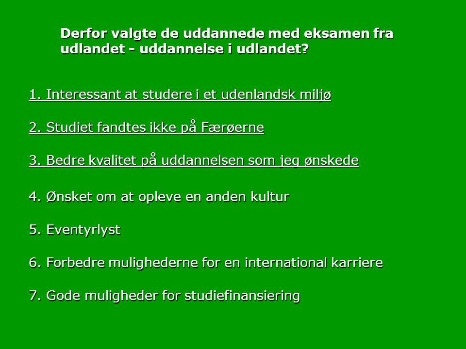 2. Studiet fandtes ikke på Færøerne 1.