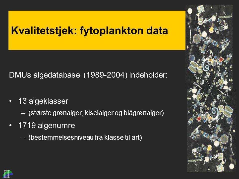 Kvalitetstjek: fytoplankton data DMUs algedatabase (1989-2004) indeholder: 13 algeklasser –(største grønalger, kiselalger og blågrønalger) 1719 algenumre –(bestemmelsesniveau fra klasse til art)