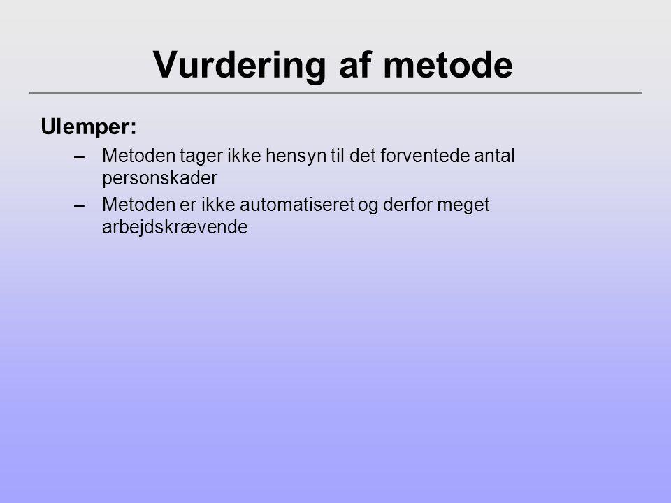 Vurdering af metode Ulemper: –Metoden tager ikke hensyn til det forventede antal personskader –Metoden er ikke automatiseret og derfor meget arbejdskrævende