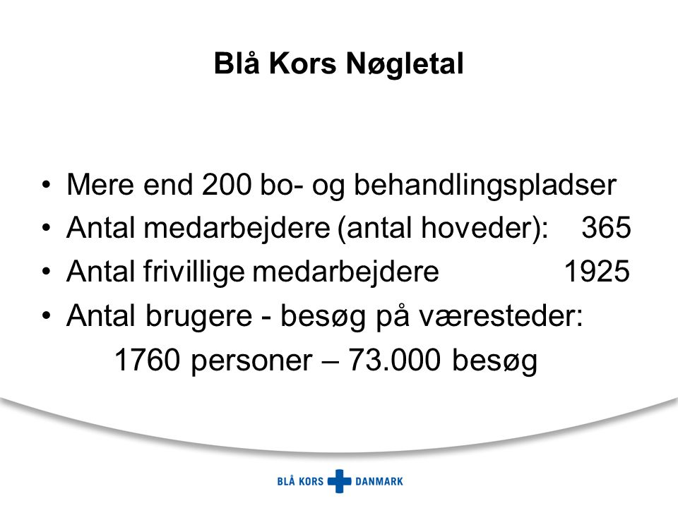 Blå Kors Nøgletal Mere end 200 bo- og behandlingspladser Antal medarbejdere (antal hoveder): 365 Antal frivillige medarbejdere 1925 Antal brugere - besøg på væresteder: 1760 personer – 73.000 besøg