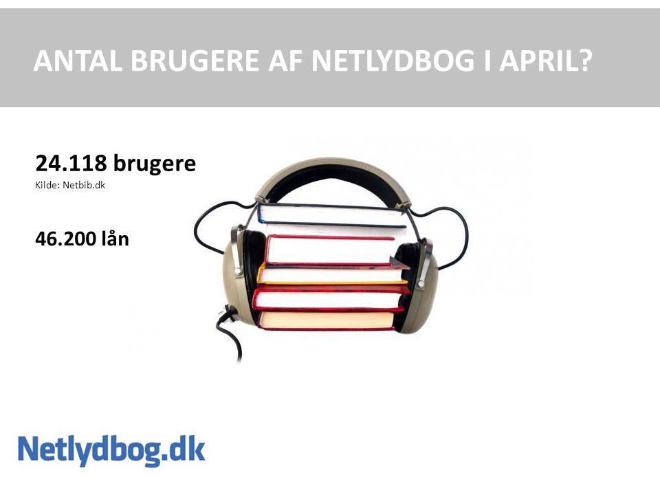 ANTAL BRUGERE AF NETLYDBOG I APRIL 24.118 brugere Kilde: Netbib.dk 46.200 lån