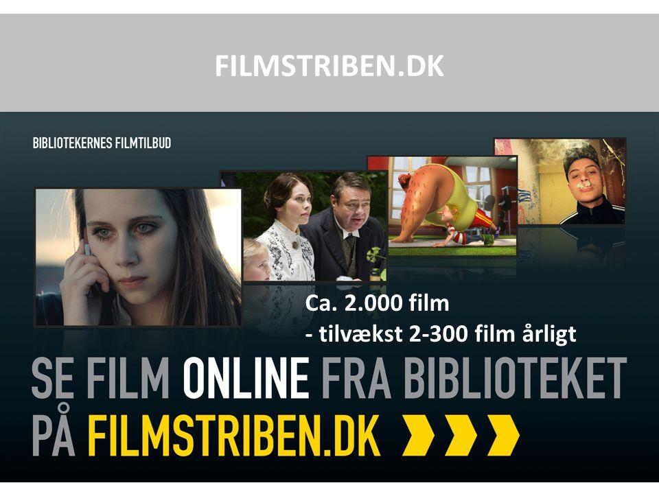 FILMSTRIBEN.DK Ca. 2.000 film - tilvækst 2-300 film årligt