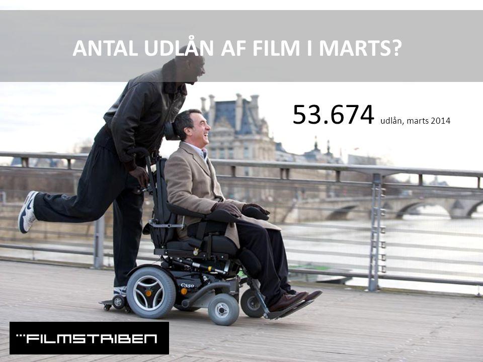 ANTAL UDLÅN AF FILM I MARTS 53.674 udlån, marts 2014