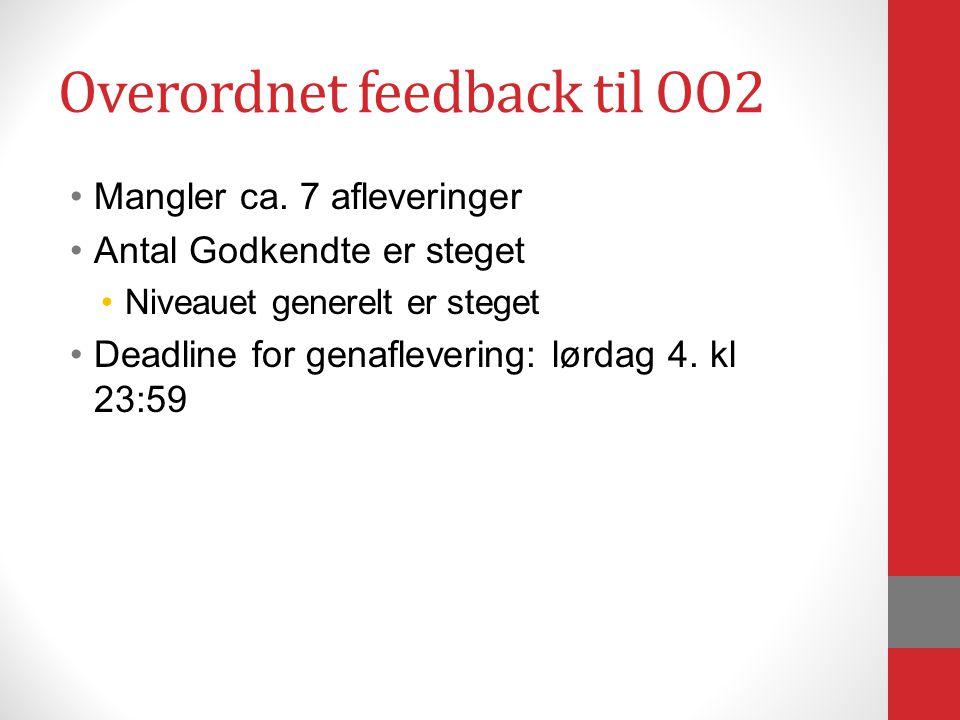 Overordnet feedback til OO2 Mangler ca.