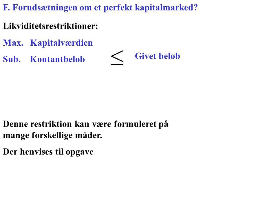 F. Forudsætningen om et perfekt kapitalmarked. Likviditetsrestriktioner: Max.