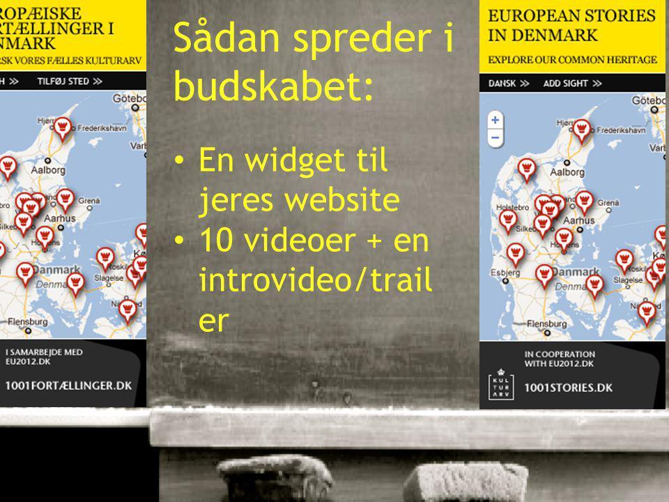 10-01-201522 Sådan spreder i budskabet: En widget til jeres website 10 videoer + en introvideo/trail er
