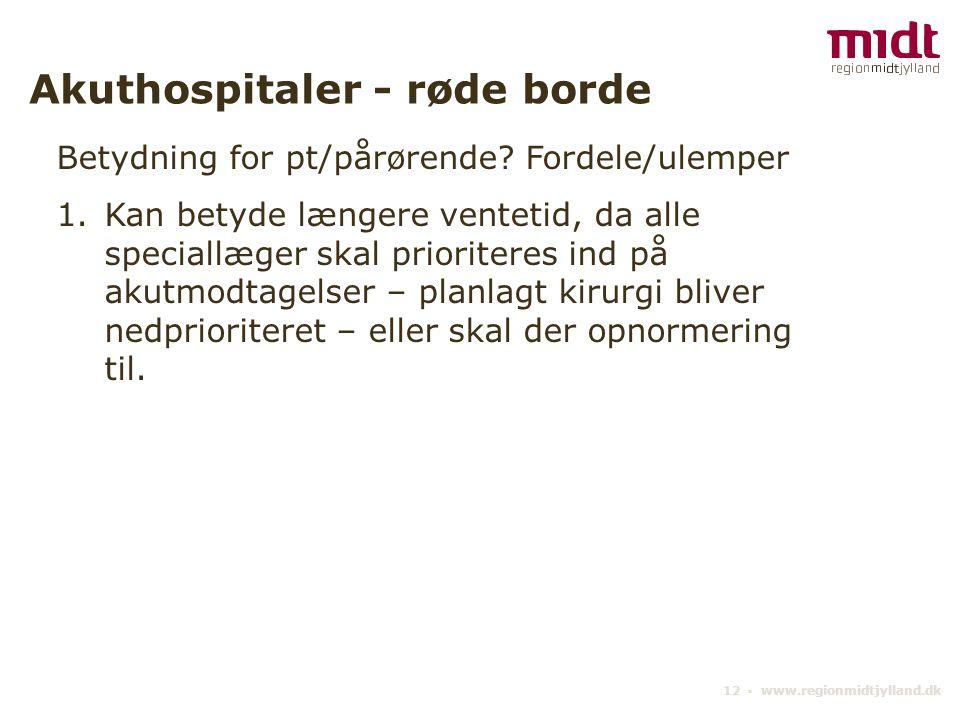 12 ▪ www.regionmidtjylland.dk Akuthospitaler - røde borde Betydning for pt/pårørende.