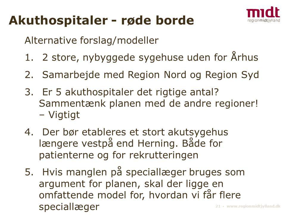 21 ▪ www.regionmidtjylland.dk Akuthospitaler - røde borde Alternative forslag/modeller 1.